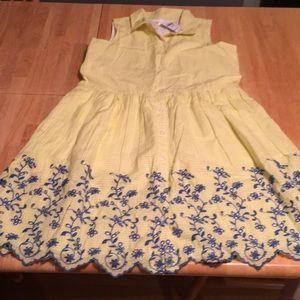 Gap Kids yellow dress with embroidered flowers